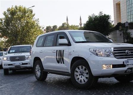 Az ENSZ vegyifegyver szakértői napi munkájuk befejeztével szállásukra térnek Damaszkuszban 2013. augusztus 29-én